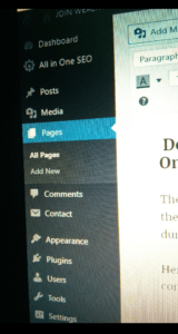 picture of a dashboard of WordPress website