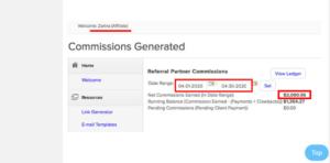 Affiliate partner 1 $2,090 commision generated